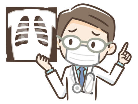 Doctor examining chest x-ray film of patient at hospital. Vector Illustration