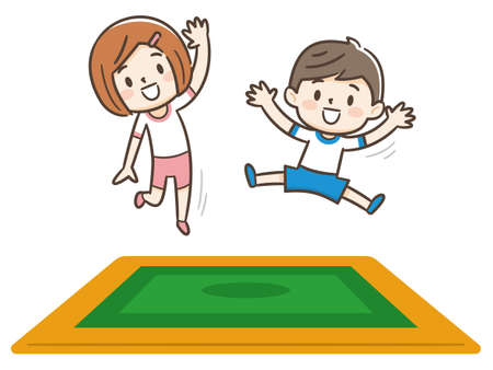 Happy children jumping on the trampoline. Cute boy and girl having fun jumping on the trampoline. Entertainment. Vector images in cartoon style.