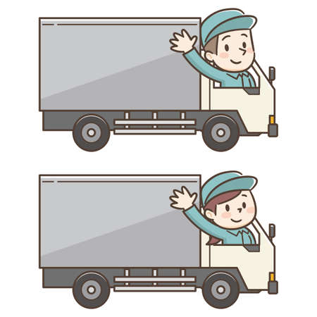 Vector Illustration of Delivery Men and Women on Truck Vectores