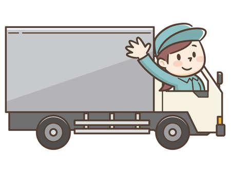 Vector Illustration of Delivery Women on Truck