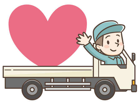 Vector Illustration of Delivery Man on Truck