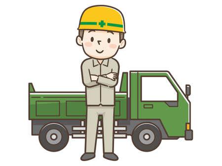 Worker wearing a helmet and dump truck