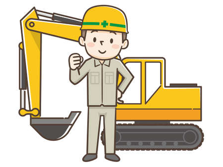Worker wearing a helmet and Shovel car  イラスト・ベクター素材