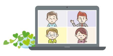Illustration of people at video conference on laptop. Vector