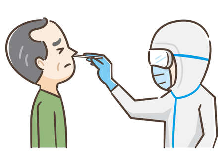 Covid test, doctor collects nose mucus by swab sample for covid-19 infection, patient being tested, lab analysis, medical checkup, flat cartoon vector illustration, doctor in face mask
