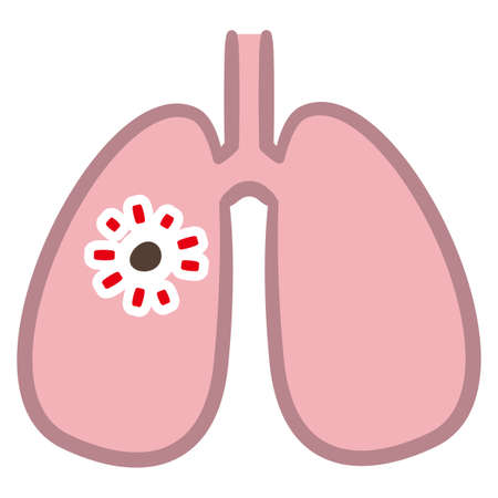 Illustration of lungs on white background, Aspiration