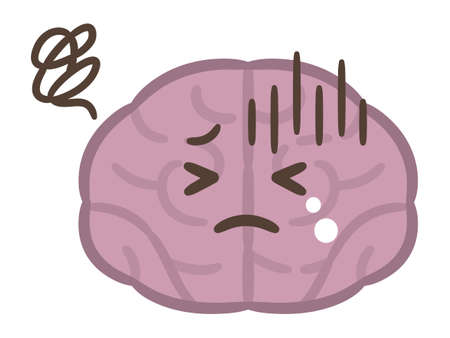 Cute cartoon brain illustrations on white background Vectores