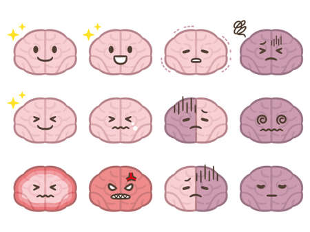 Cute cartoon brain emoticons set. Vettoriali