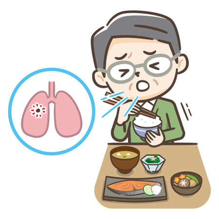 Illustration of an elderly person who aspirated during a meal.