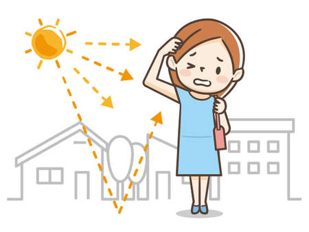 Illustration of a woman receiving sunshine