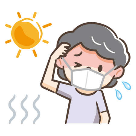 Illustration of an elderly woman with a heat stroke wearing a mask