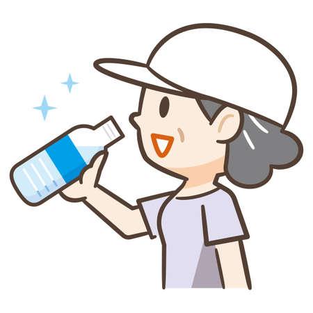Elderly woman drinking plastic bottle of water