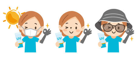 Set of illustrations of a young woman with sun protection Ilustración de vector