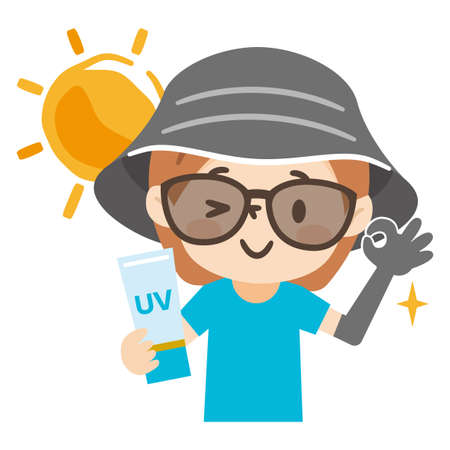 Young woman wearing a hat and sunglasses wears sun protection. Ilustración de vector