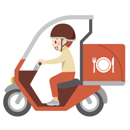 Delivery deliveryman carrying food on a motorcycle