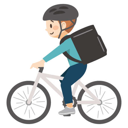 Delivery deliveryman carrying food on a bicycle