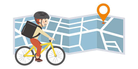 Image of map and deliveryman carrying food by bicycle