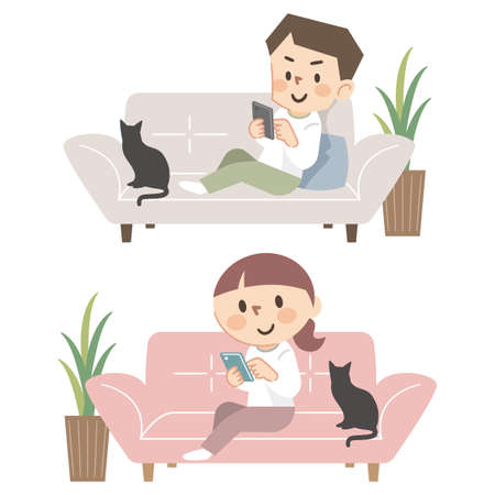 Set of young men and women who operate smartphones on the sofa