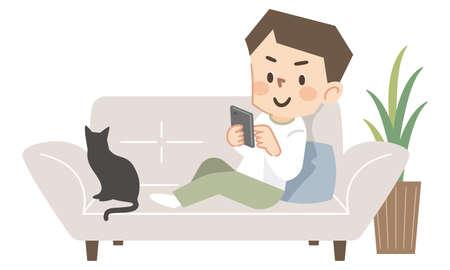 Young man operating a smartphone on the sofa Illusztráció