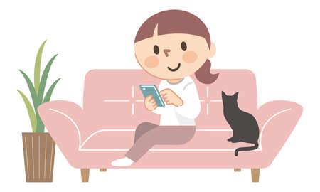 Young woman operating a smartphone on the sofa Illusztráció