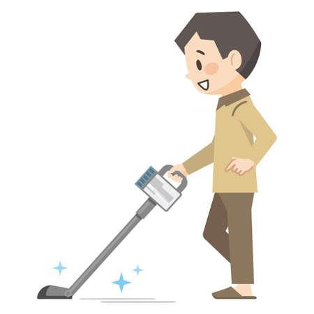 Illustration of a young man vacuuming a cordless vacuum