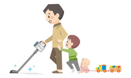 Illustration of a father and children vacuuming
