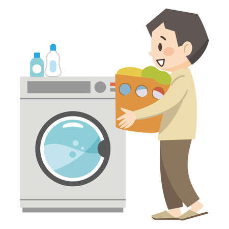 Illustration of a young man doing laundry Stock Illustratie