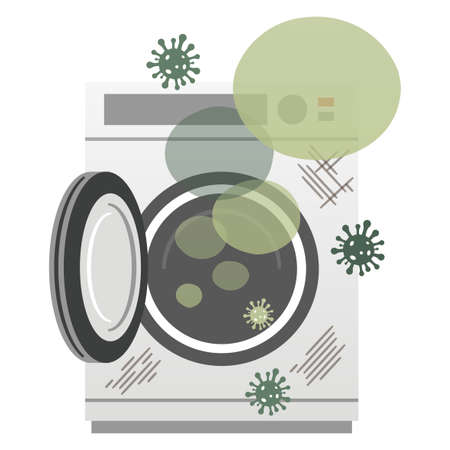 Illustration of a washing machine that is moldy and has a strange odor