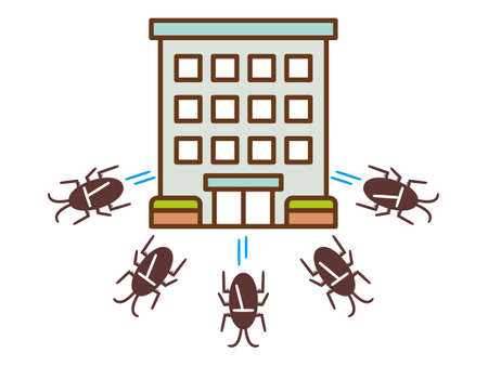 Illustration of a group of cockroaches escaping from an apartment