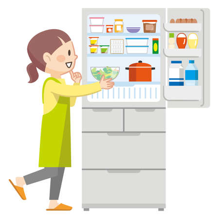 Illustration of a young housewife opening the refrigerator