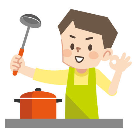 Illustration of a young man cooking