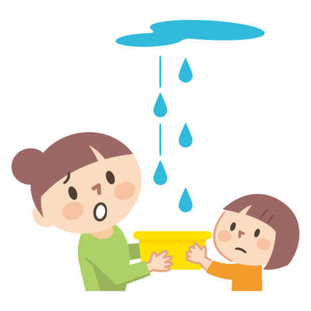 Illustration of parents and children who are troubled by rain leaks 向量圖像