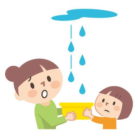 Illustration of parents and children who are troubled by rain leaks Ilustração