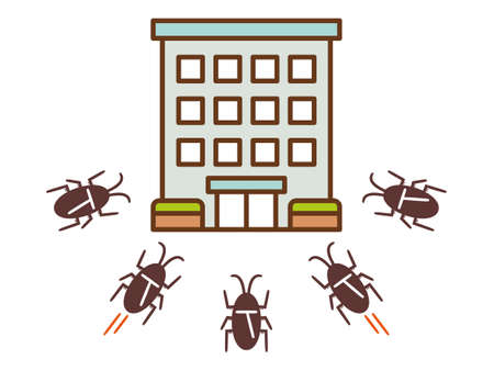 Illustration of a group of cockroaches invading an apartment