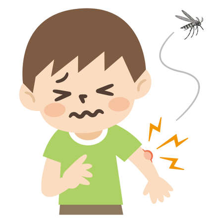 Illustration of a boy bitten by a mosquito
