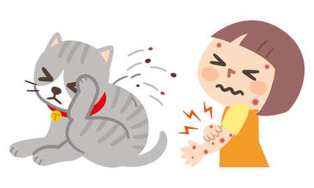 girl has skin rash from cat flea cartoon vector Vector Illustration