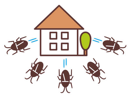 Illustration of a group of cockroaches leaving home