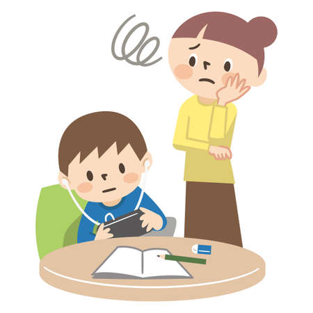 Illustration of a mother who is surprised by a child who plays games without doing homework Illustration