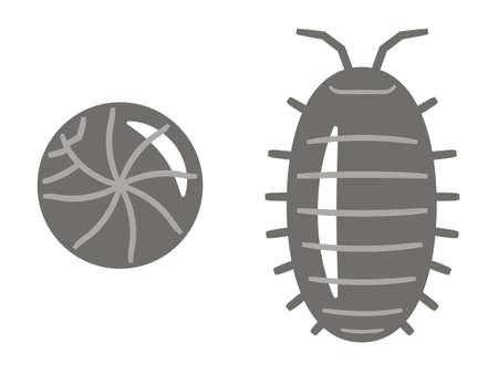Illustration of Pill bug on white background. Ilustración de vector