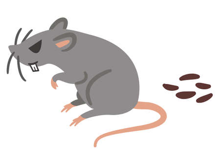 Illustration of a ferocious rat and feces