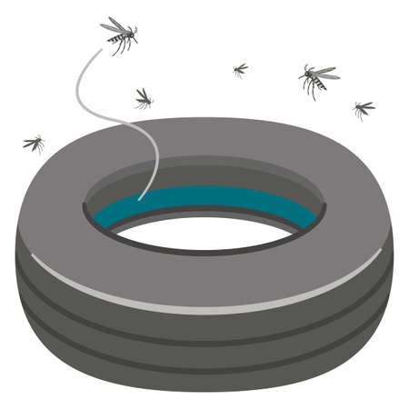 Large swarm of mosquitoes in rainwater in a tire groove Vector Illustration