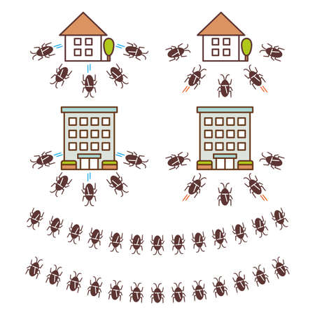Set of illustrations of a house targeted by a cockroach and a house that has gone away 일러스트