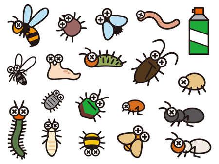 Set of deformed illustrations of pest control Stock Illustratie