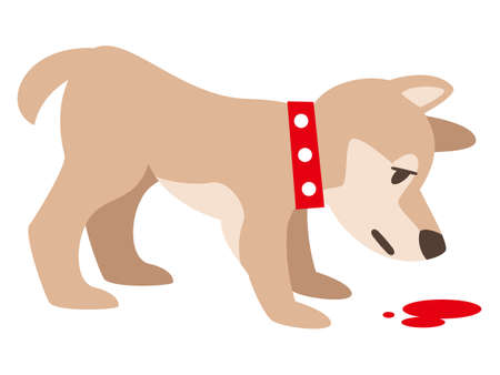 Illustration of a dog sniffing blood on a white background