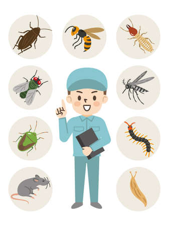 Illustration of a pest exterminator and a pest