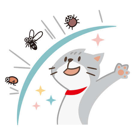 Illustration of a cat repelling pests on a white background