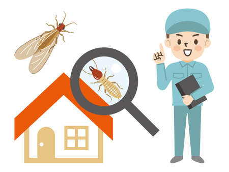 Image Illustration of Pest Control Worker and Termite