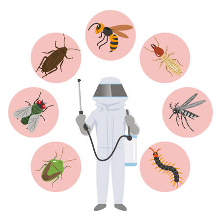 Illustration of pest control companies and pests in protective clothing Vector Illustration