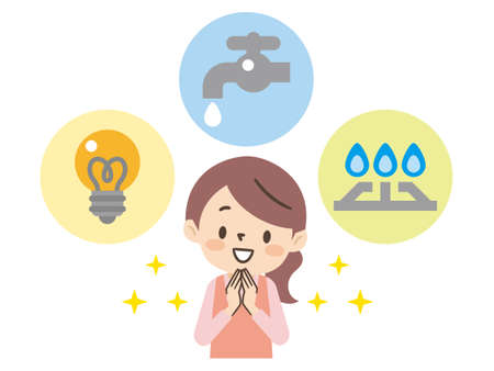 Housewife thinking about utility costs for electricity, gas, and water Ilustración de vector