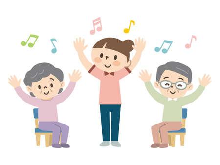 Elderly people enjoying recreation at a nursing home  イラスト・ベクター素材